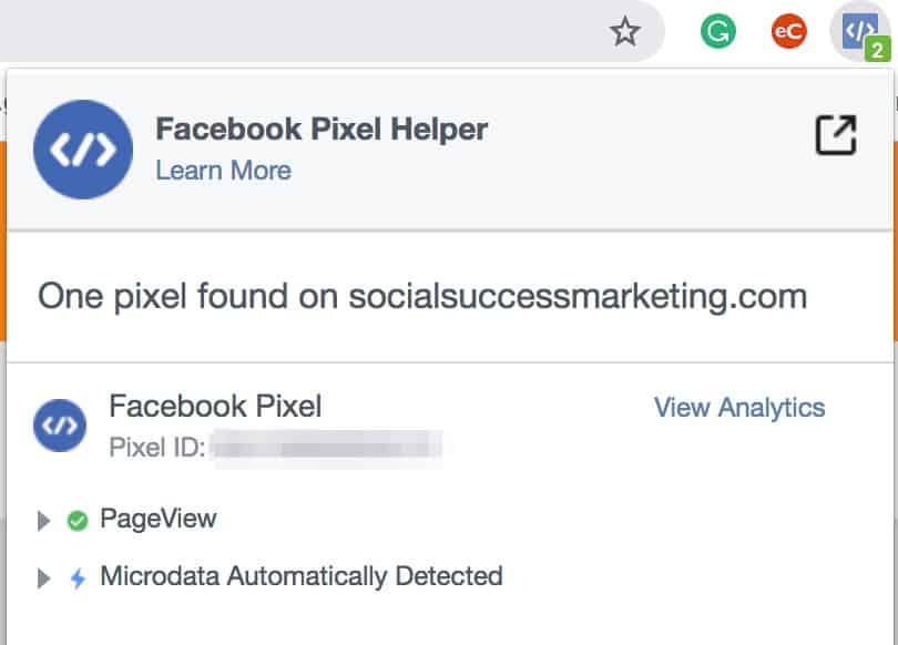 Facebook Pixel remarketing tracking code